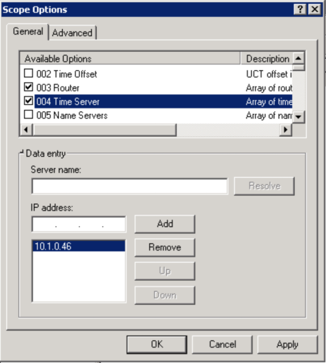 DHCP time server